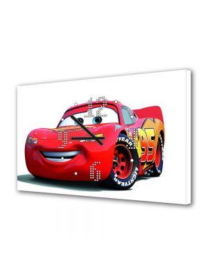 Tablou Canvas cu Ceas Animatie pentru Copii Lighning McQueen Cars, 30 x 45 cm