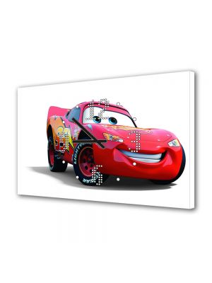 Tablou Canvas cu Ceas Animatie pentru Copii Masina McQueen, 30 x 45 cm