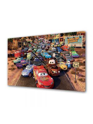 Tablou Canvas cu Ceas Animatie pentru Copii Route 66 Cars, 30 x 45 cm