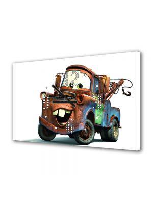 Tablou Canvas cu Ceas Animatie pentru Copii Tow Mater, 30 x 45 cm