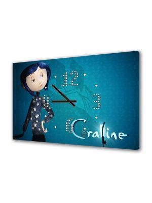 Tablou Canvas cu Ceas Animatie pentru Copii Coraline Jones, 30 x 45 cm