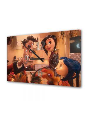 Tablou Canvas cu Ceas Animatie pentru Copii Parintii si Coraline, 30 x 45 cm