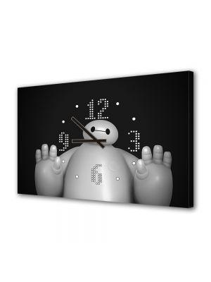 Tablou Canvas cu Ceas Animatie pentru Copii Big Hero 6 Baymax, 30 x 45 cm