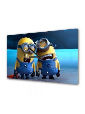 Tablou Canvas cu Ceas Animatie pentru Copii Despicable Me 2 Minionii Razand, 30 x 45 cm
