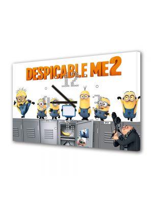 Tablou Canvas cu Ceas Animatie pentru Copii Despicable Me 2 Afis, 30 x 45 cm