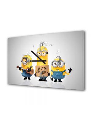Tablou Canvas cu Ceas Animatie pentru Copii Minionii 2015, 30 x 45 cm