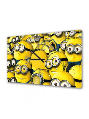 Tablou Canvas cu Ceas Animatie pentru Copii Minioni, 30 x 45 cm
