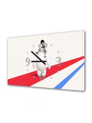 Tablou Canvas cu Ceas Animatie pentru Copii Big Hero 6 Hiro si Baymax, 30 x 45 cm