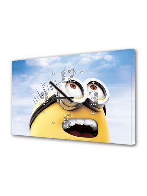 Tablou Canvas cu Ceas Animatie pentru Copii Minion, 30 x 45 cm