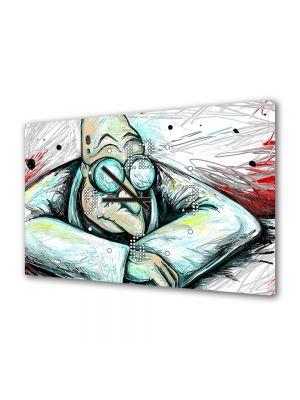 Tablou Canvas cu Ceas Animatie pentru Copii Futurama Professor Farnsworth, 30 x 45 cm