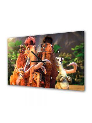 Tablou Canvas cu Ceas Animatie pentru Copii Ice Age, 30 x 45 cm