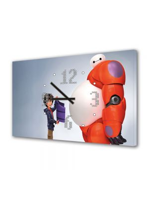Tablou Canvas cu Ceas Animatie pentru Copii Big Hero 6, 30 x 45 cm