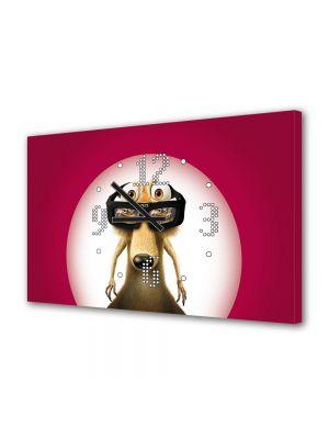 Tablou Canvas cu Ceas Animatie pentru Copii Veverita Scrat din Ice Age, 30 x 45 cm