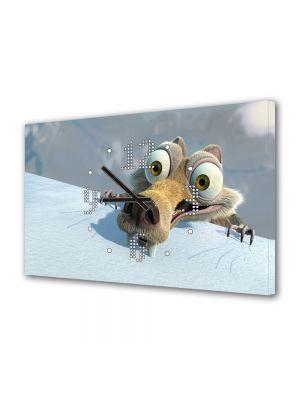 Tablou Canvas cu Ceas Animatie pentru Copii Veverita din Ice Age, 30 x 45 cm