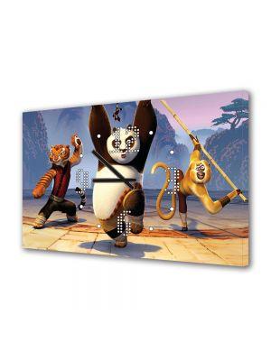 Tablou Canvas cu Ceas Animatie pentru Copii Kung Fu Panda 2 The Movie, 30 x 45 cm