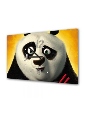 Tablou Canvas cu Ceas Animatie pentru Copii Kung Fu Panda The Kaboom of Doom, 30 x 45 cm