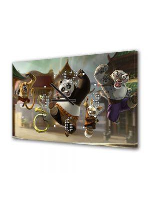 Tablou Canvas cu Ceas Animatie pentru Copii Kung Fu Panda, 30 x 45 cm