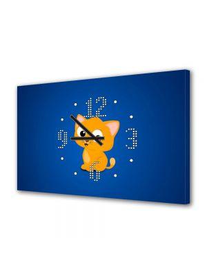 Tablou Canvas cu Ceas Animatie pentru Copii Pisica Animata, 30 x 45 cm