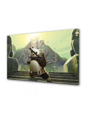 Tablou Canvas cu Ceas Animatie pentru Copii Kung Fu Panda 2, 30 x 45 cm
