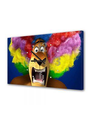 Tablou Canvas cu Ceas Animatie pentru Copii Madagascar 3 Peruca Curcubeu, 30 x 45 cm