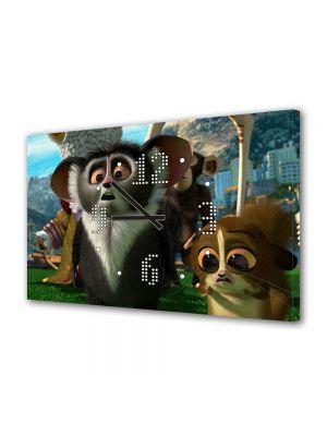 Tablou Canvas cu Ceas Animatie pentru Copii Madagascar 3 Mort, 30 x 45 cm
