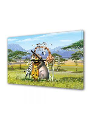 Tablou Canvas cu Ceas Animatie pentru Copii Madagascar The Crate Escape, 30 x 45 cm