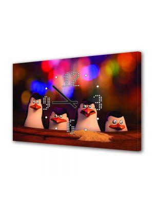 Tablou Canvas cu Ceas Animatie pentru Copii Pinguinii din Madagascar, 30 x 45 cm