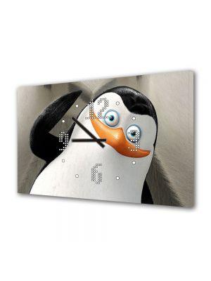 Tablou Canvas cu Ceas Animatie pentru Copii Pingiunii Madagascar, 30 x 45 cm