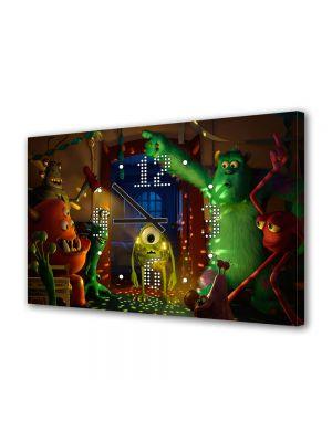 Tablou Canvas cu Ceas Animatie pentru Copii Monster University Party, 30 x 45 cm