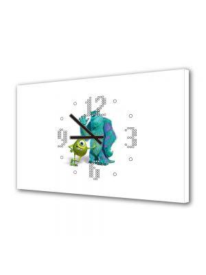Tablou Canvas cu Ceas Animatie pentru Copii Monsters Inc. Sulley si Mike, 30 x 45 cm