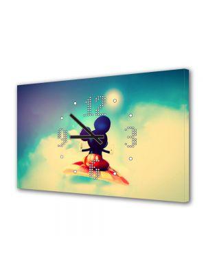 Tablou Canvas cu Ceas Animatie pentru Copii Disney Mickey Mouse, 30 x 45 cm