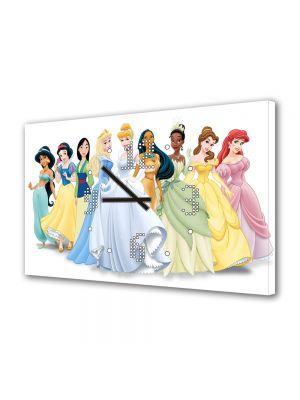 Tablou Canvas cu Ceas Animatie pentru Copii Disney Printesa, 30 x 45 cm