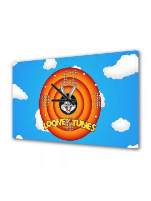 Tablou Canvas cu Ceas Animatie pentru Copii Disney Looney Tunes, 30 x 45 cm