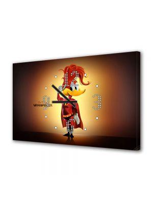 Tablou Canvas cu Ceas Animatie pentru Copii Disney Ciocanitoarea Woody, 30 x 45 cm