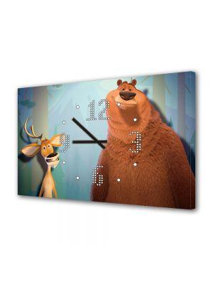 Tablou Canvas cu Ceas Animatie pentru Copii Open Season Boog si Elliot, 30 x 45 cm