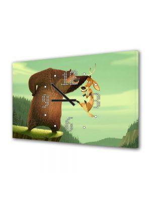 Tablou Canvas cu Ceas Animatie pentru Copii Open Season Ursul Boog, 30 x 45 cm