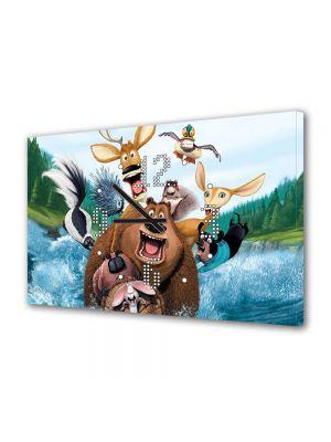 Tablou Canvas cu Ceas Animatie pentru Copii Open Season , 30 x 45 cm