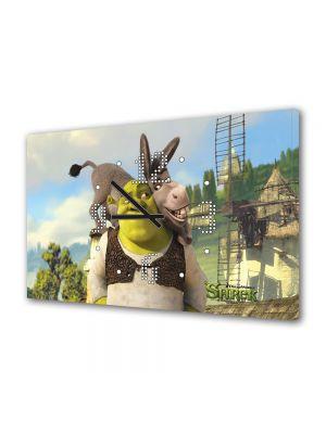 Tablou Canvas cu Ceas Animatie pentru Copii Shrek si Magaru, 30 x 45 cm