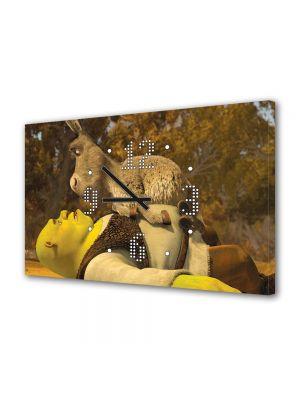 Tablou Canvas cu Ceas Animatie pentru Copii Shrek si Personajul Magarul, 30 x 45 cm