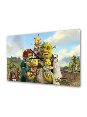 Tablou Canvas cu Ceas Animatie pentru Copii Shrek, Fiona si Copiii, 30 x 45 cm