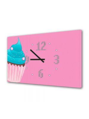 Tablou Canvas cu Ceas Animatie pentru Copii Cupcake, 30 x 45 cm