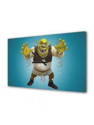 Tablou Canvas cu Ceas Animatie pentru Copii Shrek Forever After Filmul, 30 x 45 cm