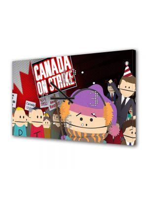 Tablou Canvas cu Ceas Animatie pentru Copii South Park Canada on Strike, 30 x 45 cm