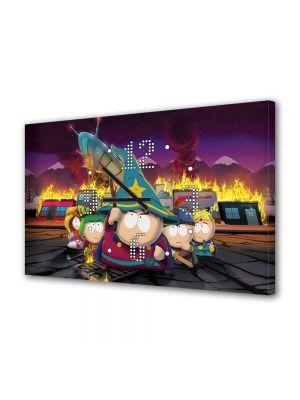 Tablou Canvas cu Ceas Animatie pentru Copii South Park The stick of Truth, 30 x 45 cm
