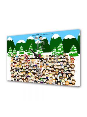 Tablou Canvas cu Ceas Animatie pentru Copii South Park Toate Personajele, 30 x 45 cm
