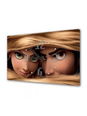 Tablou Canvas cu Ceas Animatie pentru Copii Tangled Disney Film, 30 x 45 cm