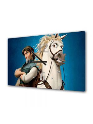Tablou Canvas cu Ceas Animatie pentru Copii Tangled Flynn pe Cal, 30 x 45 cm