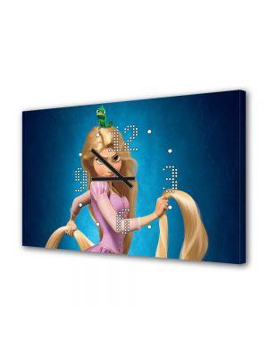 Tablou Canvas cu Ceas Animatie pentru Copii Tangled Printesa, 30 x 45 cm