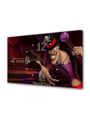 Tablou Canvas cu Ceas Animatie pentru Copii Princess and the Frog Dr Facilier, 30 x 45 cm