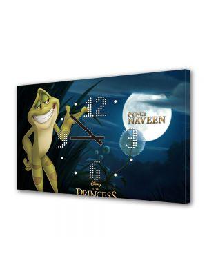 Tablou Canvas cu Ceas Animatie pentru Copii Printesa si Broasca Printul Naveen, 30 x 45 cm